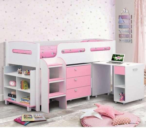 Kimbo Mid Sleeper Cabin Bed pink