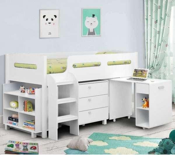 Kimbo Mid Sleeper Cabin Bed White
