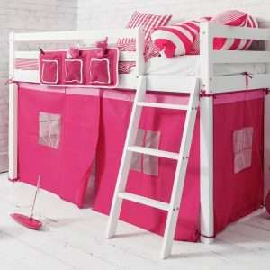 Ontario Midsleeper Bed with Pink Tent