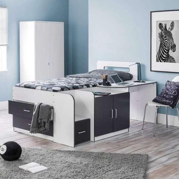 Happy Beds Charcoal Grey Midsleeper