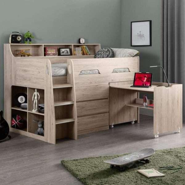 Oak Wooden Mid Sleeper Bed