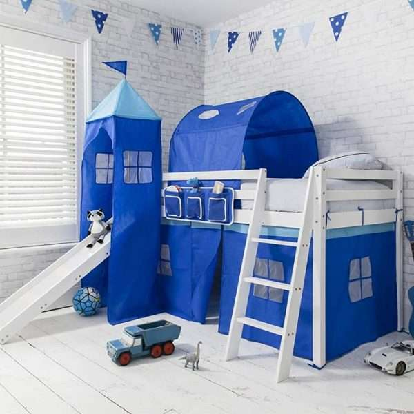 Noa & Nani Midsleeper Cabin Bed with Slide Blue Tent